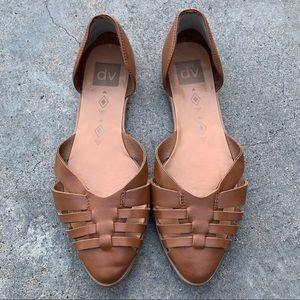 Dolce Vita Brown Cognac Basketweave Huarache Flats